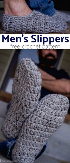 This crochet pattern for Men's Slippers works up FAST and is FREE!  #crochet #crochetformen