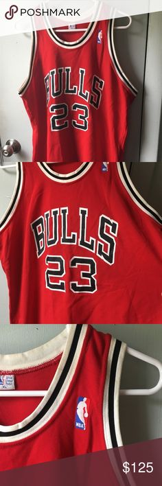 Michael Jordan Chicago Bulls 23 Jersey Red NBA XL vintage Sand Knit  MacGregor jersey made in e58a83e7c