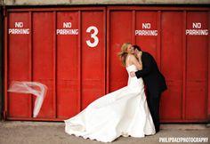 Industrial wedding backdrop