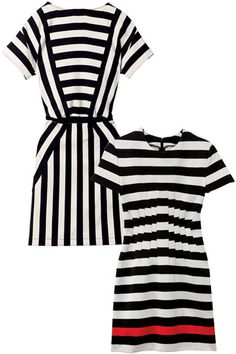 RESORTWEAR: Show Your Stripes - Classic black-and-white stripes are back, and are particularly chic in short, modish dresses. A few 2012 twists on the '60s staple? Contrasting horizontal and vertical lines in one garment or a dash of red to break up the monochromatic palette. Marc by Marc Jacobs dress, Diane von Furstenberg dress.