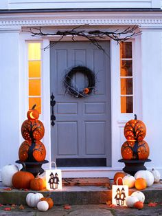 front door with halloween decorations