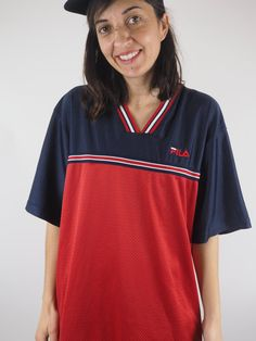 Vintage Fila Jersey Style T-Shirt Red and Blue
