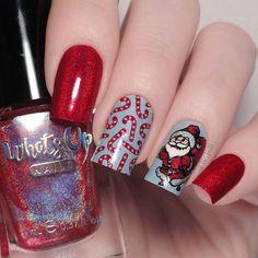 "Swatches | Nail Art | Stamping en Instagram: ""Красная краска с голографией ""Red All Over"" 029🔥 от @whatsupnails . Голубой лак ""Небо"" арт.1366 от @masura.ru . Стемпинг с пластин…"" Santa Nails, Xmas Nails, Candy Cane, Nail Art, Red, Silver, Beauty, Christmas Manicure, Barley Sugar"
