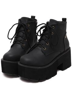 SheIn offers Black Thick-soled Round Toe Boots & more to fit your fashionable needs. Source by xxwldonexx - Black Platform Boots, Black High Heels, High Heel Boots, Heeled Boots, Shoe Boots, Platform Shoes, Dr Shoes, Cute Shoes, Me Too Shoes