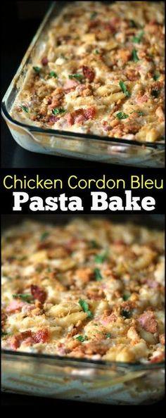 Chicken Cordon Bleu Pasta Bake   Aunt Bee's Recipes