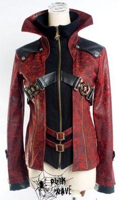 fashion red Skull Visual Kei Punk Gothic Lolita nana Blazer Coat Jacket S-XXL