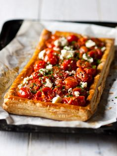 Buttery Tomato Tart: This gorgeous tomato filling contains a scandalous amount of butter, but it's worth every calorie.  Pre-bake the pastry case to prevent soggy-bottom syndrome! #Vegetarian