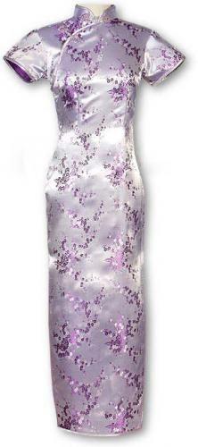 Lavender Sakura Long Qipao - $52