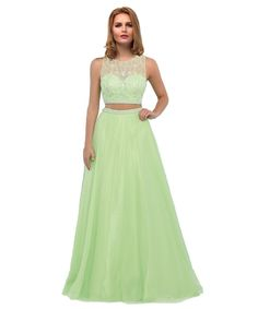 Callmelady Sheer Neck Two Piece Long Prom Dresses Evening Gowns for Women 2017 (Sage, US26W). This two piece gown features a glittering vine like pattern of beading along the bodice and waist. Suitable as 2017 new prom dresses, evening gowns, formal dresses, pageant dresses, party dresses & dresses for other special occasions. Please refer to our own US size chart from product images or message us your custom size including bust, waist, hips, hollow to floor & height after you place the...