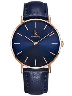 Alienwork Navy Blue Unisex Armbanduhr Herren Damen Uhr Leder Armband Lederband blau Analog Quarz Herrenuhr Damenuhr rose gold blau Wasserdicht Ultra-flach dünn Klassik