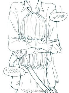 ✮ ANIME ART ✮ anime couple. . .hug. . .speech bubbles. . .emoticon. . .embarrassed. . .lineart. . .drawing. . .doodle. . .cute. . .kawaii
