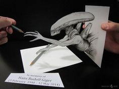 """8. Alessandro Diddi – Hommage to Giger - The artist paid an homage to the great creator of the """"Alien"""", one of the most frightening and most successful sci-fi horror stories ever. Diddi's Alien is not so scary, although it looks real."""