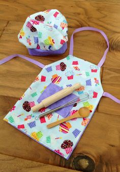 American girl doll apron, chef's hat, wooden spoon, whisk and rolling pin on Etsy, $13.00