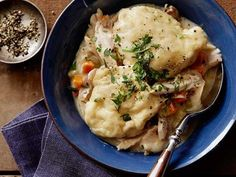 Chicken and Dumplings Recipe : Tyler Florence : Food Network. great dumplings for chicken soup! added chives and parsley. Food Network Recipes, Cooking Recipes, Oven Recipes, Drink Recipes, Healthy Recipes, Easy One Pot Meals, Dumpling Recipe, Chicken And Dumplings, Drop Dumplings