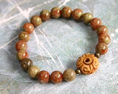 Yoga Mala Bracelet Autumn Jasper Carved Bone Guru Bead - Yoga ...