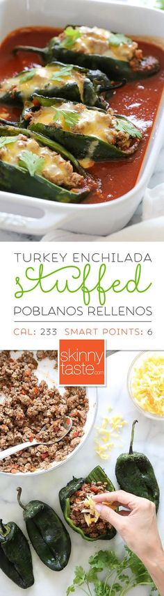 These baked Turkey Enchilada Stuffed Poblanos Rellenos are stuffed with a flavorful ground turkey filling, topped with my homemade enchilada sauce and cheese.