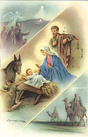 Fausto Zandrino Antique Christmas, Blue Christmas, Vintage Christmas Cards, Christmas And New Year, Xmas, O Holy Night, Jesus Pictures, Catholic Prayers, Christmas Paintings