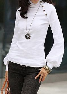 Lantern Sleeve White High Neck Blouse | Rosewe.com - USD $28.66