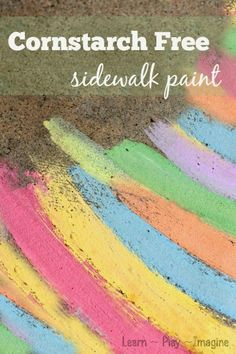 A brand NEW two ingredient recipe for sidewalk chalk paint that is easy to spread and dries in bright and vibrant shades!  CORNSTARCH FREE