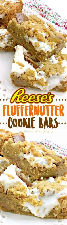 dessert bars An irresistable combination of peanut butter, chocolate, and creamy marshmallow fluff Reese's Fluffernutter Bars take the ooey-gooey dessert game to the next level! Brownie Desserts, Dessert Oreo, Coconut Dessert, Smores Dessert, Peanut Butter Desserts, Mini Desserts, Dessert Bars, Easy Desserts, Cheesecake Cookies
