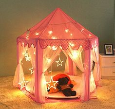 [Updated] Kids Indoor Princess Castle Play Tent,55x 53(DxH),PortableFun Perfect Hexagon Large Playhouse Toys for Girls Childs Toddlers Gift/Presents With Led Star Lights - Balls Not Included | Stylish Home Decor Products