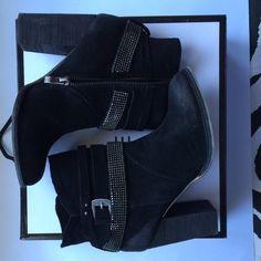 Nine West booties Black suede, chunkier heel, metal detail, super cute Nine West Shoes Ankle Boots & Booties
