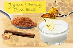 YOGURT AND HONEY DIY FACE MASK: Stir together equal parts honey and yogurt(one tablespoon each is enough for one mask). sprinkle two pinches each of nutmeg and cinnamon which work to plump skin and brighten complexion. leave on for five minutes before rinsing off with warm water.