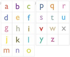 Good source for printable alphabet cards, sized 2 x 2 inches. Available here are upper and lower case letters in black or in color.