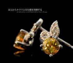 Sphene Pierced earrings ゴールデンスフェーン×ダイヤモンドピアス