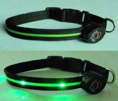 collar de perro con luces led verde, multifunción,