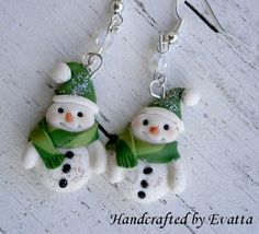 Snowman Earrings earrings handmade jewelry polymer clay white fimo kawaii christmas Disney carrot snowman green free shipping 14.00 USD #goriani