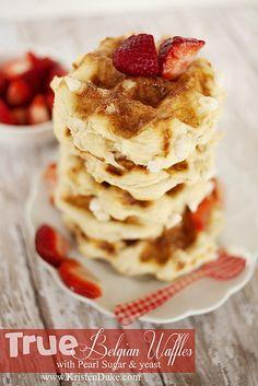 True Belgian Waffles with Pearl Sugar and yeast. SO delicious!! #waffles #breakfast www.KristenDuke.com