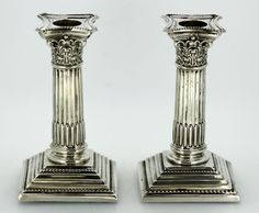 Currently at the #Catawiki auctions: Pair of silver small candlesticks, Birmingham 1899