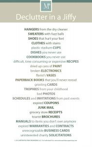 DECLUTTERING CHECKLIST from professional organizer, Geralin Thomas; Metropolitan Organizing in NC