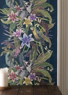 From the Tropical Fusion collection by Laura Allen, this jungle print #wallpaper design is gorgeous and we love the ring-tailed lemur nestled in the branches. Tropical Wallpaper, Teal Colors, Lemur, Designer Wallpaper, Guest Bedrooms, Wall Design, Plum, Murals, Wall Murals