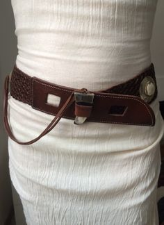Wide LEATHER BELT Braided leather belt tribal от ScandaloAlSole