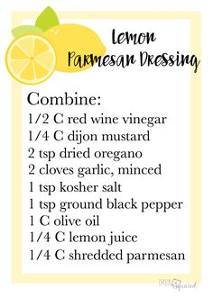Lemon Parmesan dressing recipe card Best Picture For Salad Dressing recipes For Your Taste You are l Parmesan Dressing Recipe, Salad Dressing Recipes, Sauce Recipes, Cooking Recipes, Cooking Tips, Vegan Recipes, Lemon Party, Summer Bridal Showers, Homemade Dressing