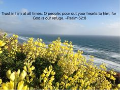 Trust in him at all times, O people pour out your hearts to him. God is our refuge. - psalm 62:8