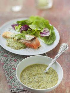 crême fraîche, oseille Healthy Snacks, Healthy Recipes, Snack Recipes, Cooking Recipes, Marinade Sauce, Pesto Sauce, Sauce Tomate, Dressing, Salsa