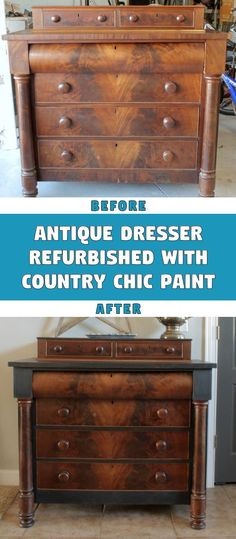Refurbished antique dresser with country chic paint Yard Sale, Pretty Good, Country Chic, Furniture Projects, Paint Colors, Home Improvement, Dresser, Antiques, Wood