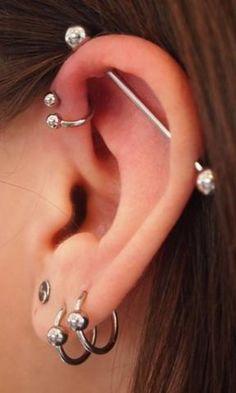 Cool Simple Multiple Ear Piercing Ideas at MyBodiArt.com - Double Lobe Earring - Industrial Barbell - Spiral Triple Forward Helix Ring - MyBodiArt.com