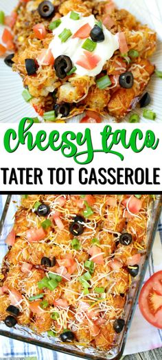 Hamburger Tater Tot Casserole, Ground Beef Casserole, Cheesy Tater Tots, Chicken Casserole, Tater Tot Recipes, Casserole Recipes, Tatertot Casserole Recipe, Kids Taco Recipes, Mexican Casserole
