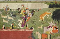 An illustration from the Hamir Hath:Ala-uddin and Mahima hunting, Punjab Hills, India, circa 1790