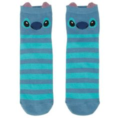 Disney Lilo & Stitch Stripe Stitch Ankle Socks | Hot Topic ($4.55) ❤ liked on Polyvore featuring intimates, hosiery, socks, tennis socks, disney, short socks, ankle socks and stripe socks