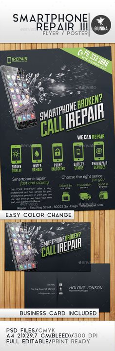 Smartphone Repair 3 Flyer / Poster Template PSD #design Download: http://graphicriver.net/item/smartphone-repair-3-flyerposter/13080510?ref=ksioks