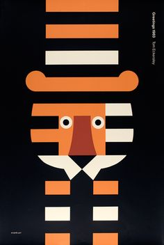 Beautiful graphic poster design by English poster designer and artist Tom Eckersley Illustration Design Graphique, Art Graphique, Graphic Illustration, Tiger Illustration, Creative Illustration, Modern Graphic Design, Graphic Art, Graphic Designers, Fashion Designers