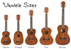Ukulele Sizes - Soprano, Concert, Tenor, and Baritone What size 'ukulele you play means a lot visually and sonically, but almost nothing when it comes to actually playing music (except for your familiarity with the feel of the size). Different strokes for Ukulele Sizes, Ukulele Chords Songs, Ukulele Art, Cool Ukulele, Banjo, Ukulele Tuning, Diy Ukulele Bag, Ukulele Cords, Luna Ukulele