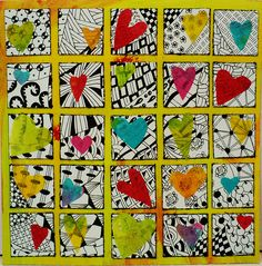 Auction project idea: Tissue paper hearts over black and white designs. - simple, have supplies, just doodle then cut out tissue paper hearts from scraps Auction Projects, School Art Projects, Auction Ideas, Group Projects, Square 1 Art, Classe D'art, Collaborative Art Projects, 5th Grade Art, Sixth Grade
