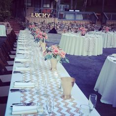 Gold chevron runners with coral flowers and gold accents #sdweddingsbygina #wedding #receptiondecor