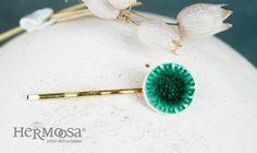ceramic hairpin ❀ flower ❀  emerald